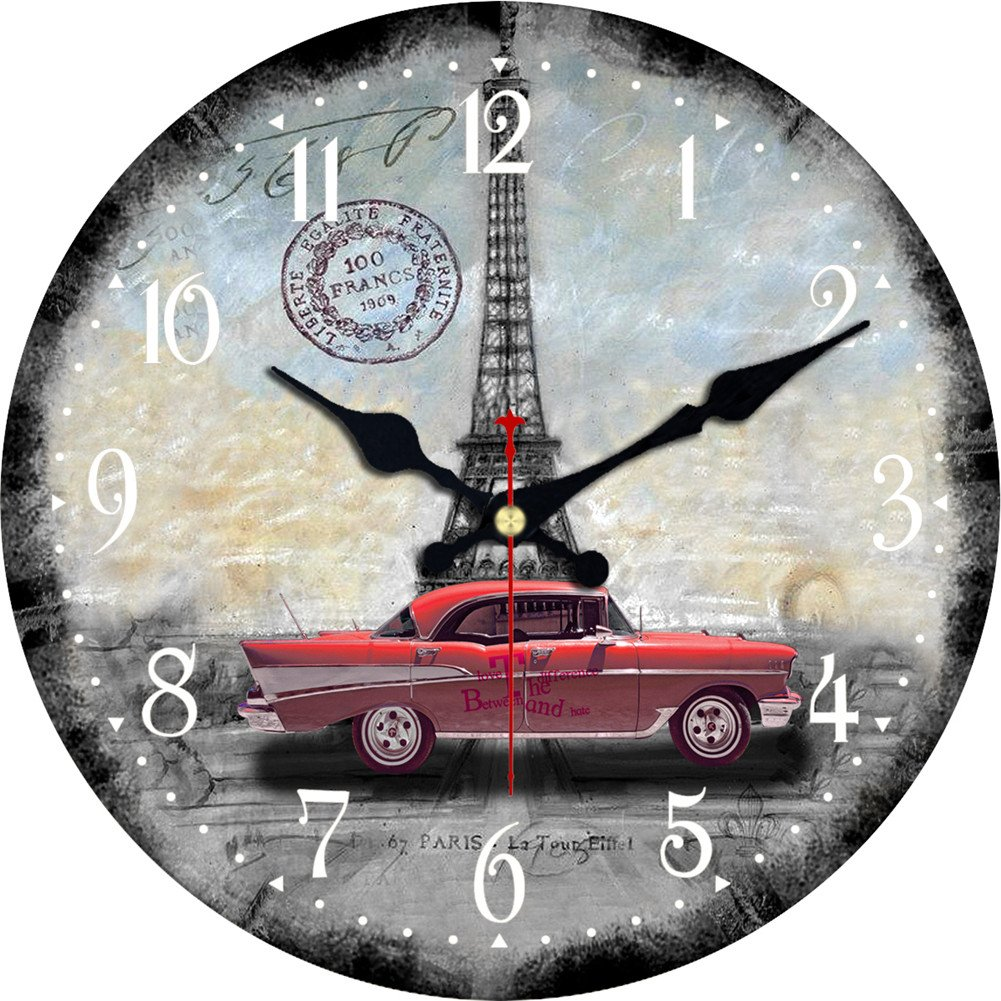 MEISTAR 16 Inch Car Lovers Themed Retro Chic Wall Clock Round Wood Farmhouse Decor Silent Clock Battery Operated(Silver,Red,Green,Blue