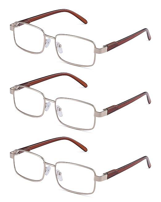 c80075feb2e JM Metal Frame Spring Hinge Reading Glasses 3 Pairs Vintage Metal Readers  Men  Amazon.co.uk  Clothing