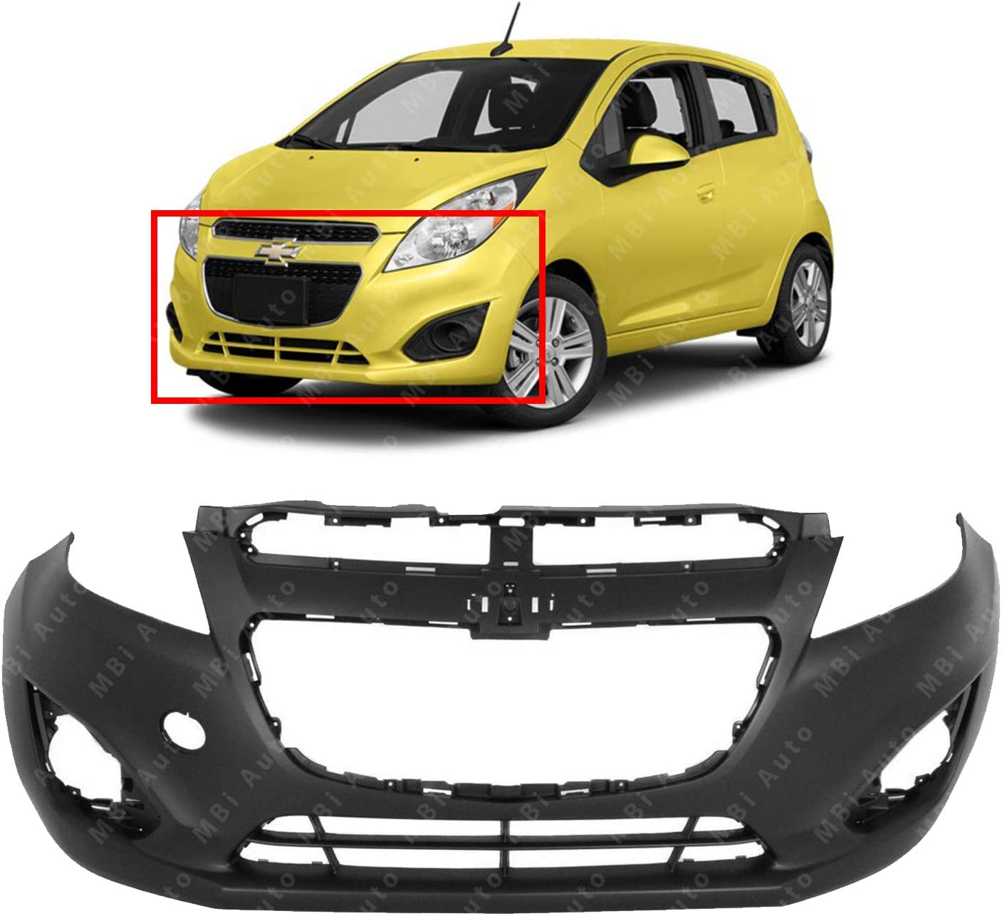 Front Bumper Cover Fascia for 2013 2014 2015 Chevrolet Chevy Spark Hatchback 13 14 15 MBI AUTO Primered GM1000935