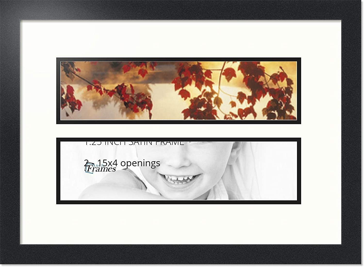 ArtToFrames Collage Photo Frame Double Mat with 2-6x20 Openings and Satin Black Frame