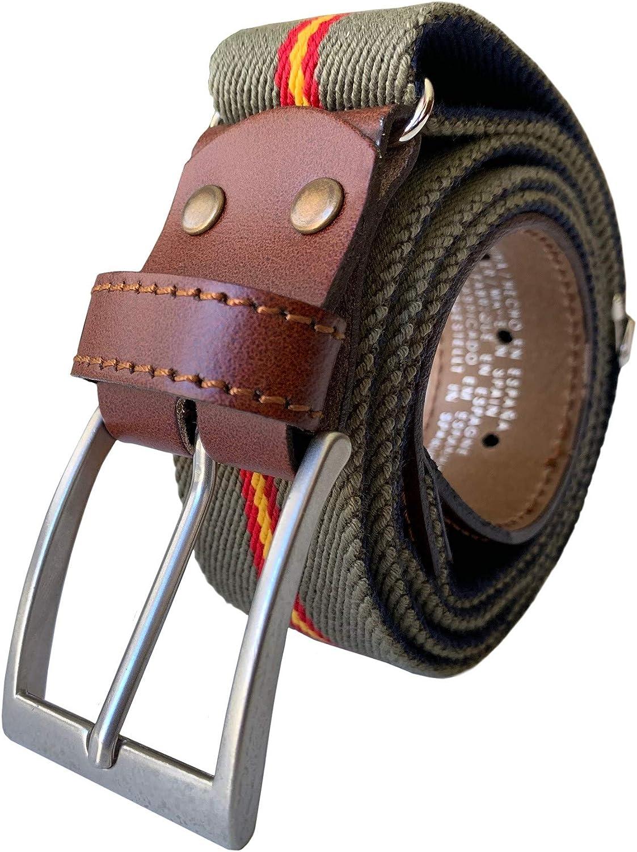 LEGADO Cinturon hombre y pulsera bandera España, cinturon elastico con cuero marron, piel de Ubrique como nuestras carteras y accesorios.
