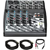 "Behringer Xenyx 802 Premium 8-Input 2-Bus Mixer w/ Xenyx Mic Preamps & British Eqs + Pro Audio Bundle Includes, 2-Pack XLR 10' Male to XLR Female Cable & 3ft. 1/8"" TRS Male to Two 1/4"" TS Male Cable"
