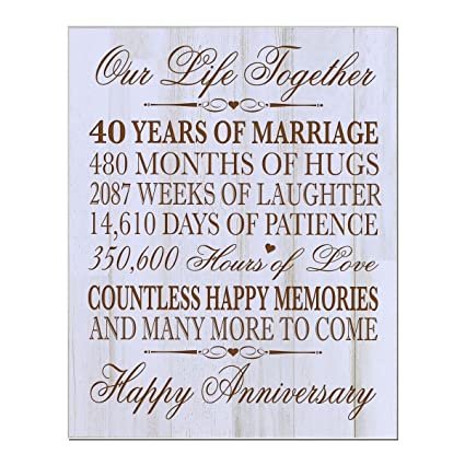 40th Wedding Anniversary.Lifesong Milestones 40th Wedding Anniversary Wall Plaque Gifts For Couple 40th For Her 40th Wedding For Him 12 Wx 15 H Wall Plaque Distressed