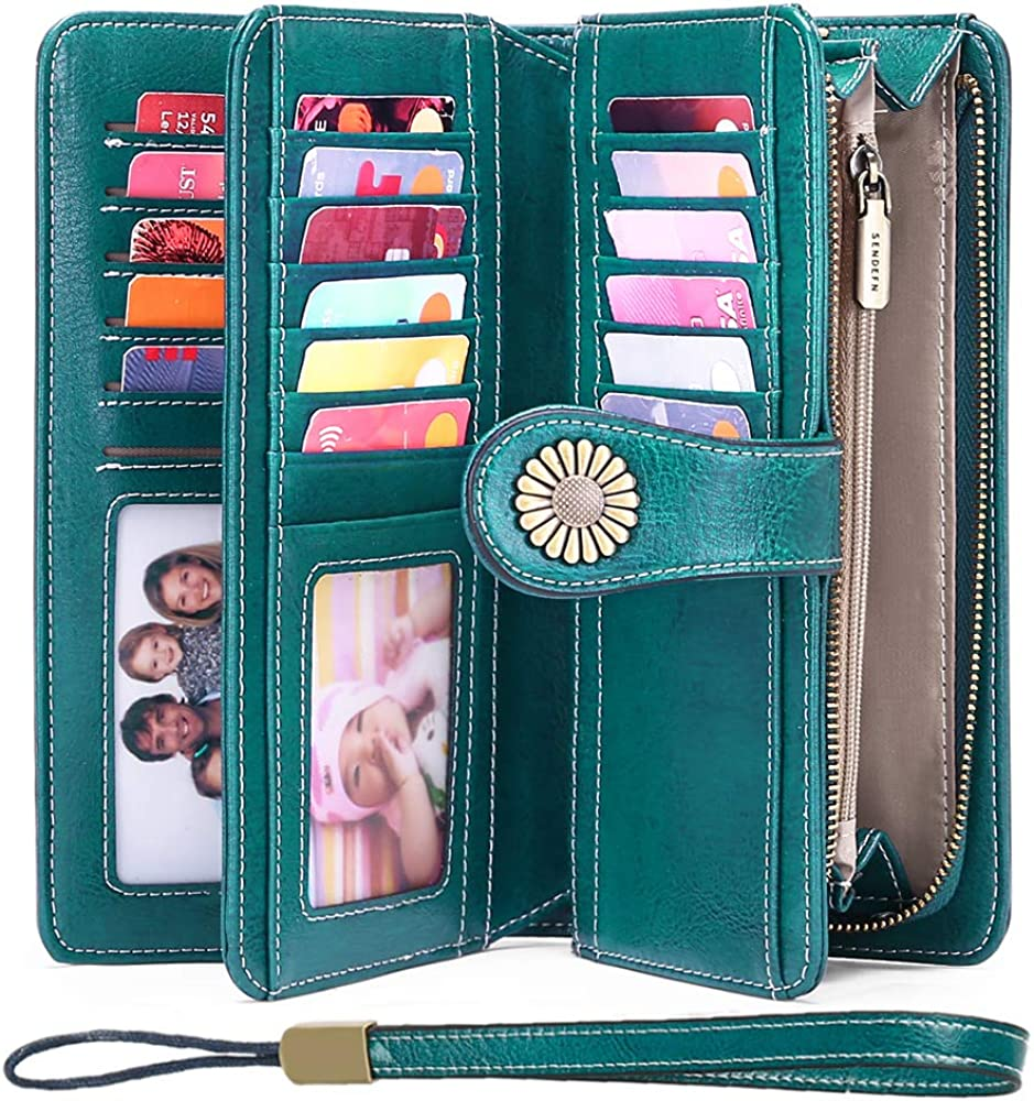 Ladies Leather Purse Large Capacity Women's RFID Blocking Wallet with 26 Credit
