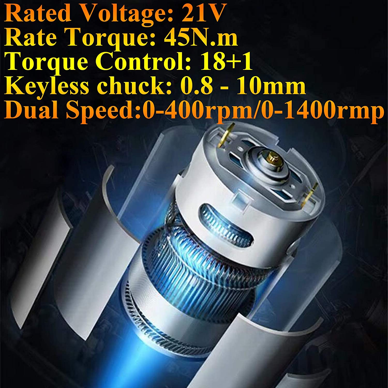 ZanGe Electric High Torque 460 N.m Impact Wrench 18V Cordless Driver Dual Speed,Variable Speed Trigger,LED Light Power Tool Bag 1//2 Drive Corded Gun,4 Impact Socket 2 pcs 6.0 Ah Li-ion Battery