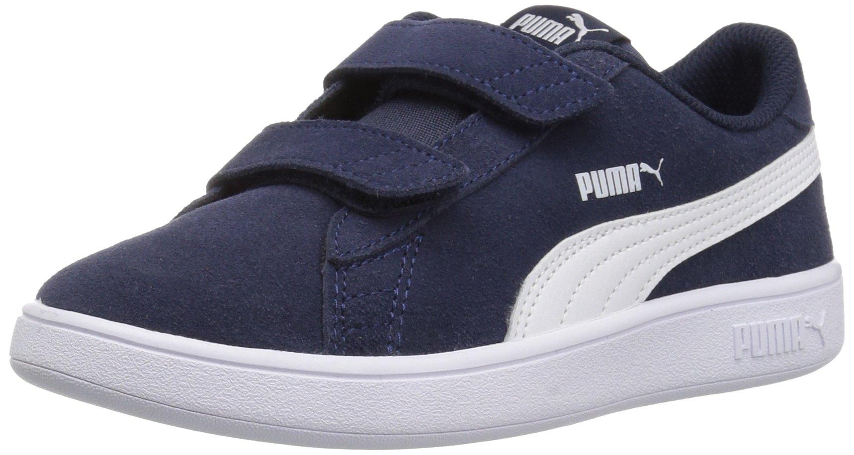 PUMA Baby Smash v2 SD Velcro Kids Sneaker, Peacoat White, 5 M US Toddler