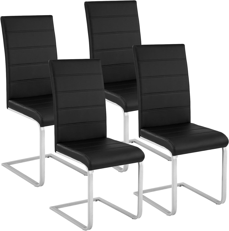 TecTake Lot de 4 Chaise de Salle à Manger Chaise Cantilever | diverses Couleurs et modèles au Choix - (4X Noir | No. 402553)
