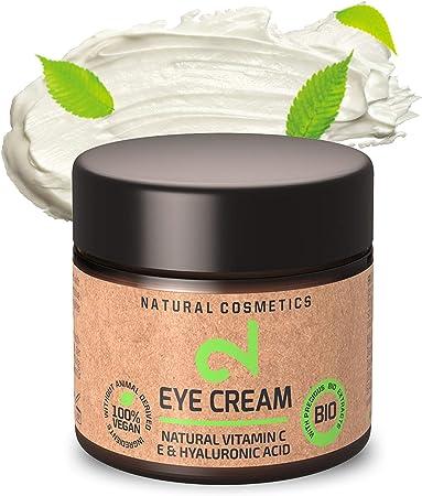 DUAL Eye Cream | Crema Para Ojos Natural y Vegana |Vitamina C y Ácido Hialurónico | Microalgas y Brócoli | Para Contorno de Ojos | Hidratación y Anti-edad | Certificado | 25m | Hecho en Alemania