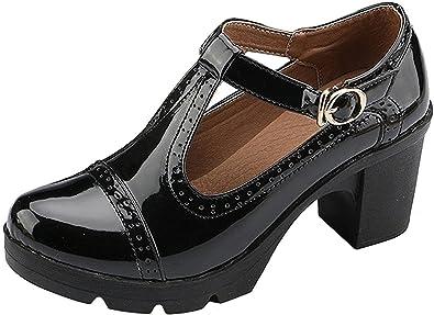 7da7ca83613 DADAWEN Women s T-Strap Platform Court Shoes Mid Heel Mary Jane Oxfords  Dress Shoes Black