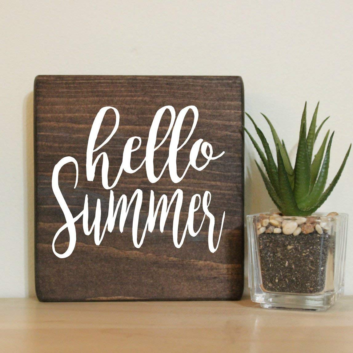 Hello Summer Small Rustic Wooden Sign
