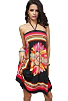 Honeystore Women's Boho Sunflower Print Summer Island Beach Casual Dress
