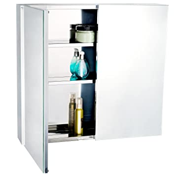 Homcom Stainless Steel Wall Mounted Bathroom Mirror Storage