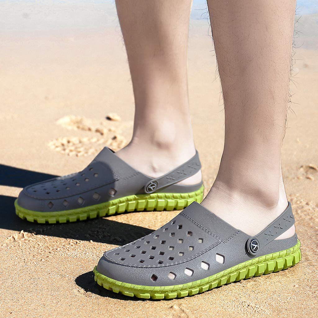 kaifongfu Men Sandals Flat Durable Outdoor Flats Hole Beach Sea Shoes Non-Slip Leisure Breathable Sport Slippers