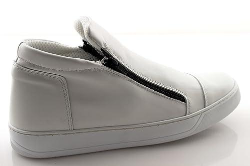 damalu Zapatillas deportivas hombre alto de piel negras Invierno Con Cremallera Cremallera italianas: Amazon.es: Zapatos y complementos