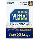 ヨーロッパ周遊 Wi-Ho!SIM 4G LTE プリペイド SIM カード 30日間 5GB データ通信専用 日本語マニュアル 24Hサポート 3in1 SIM