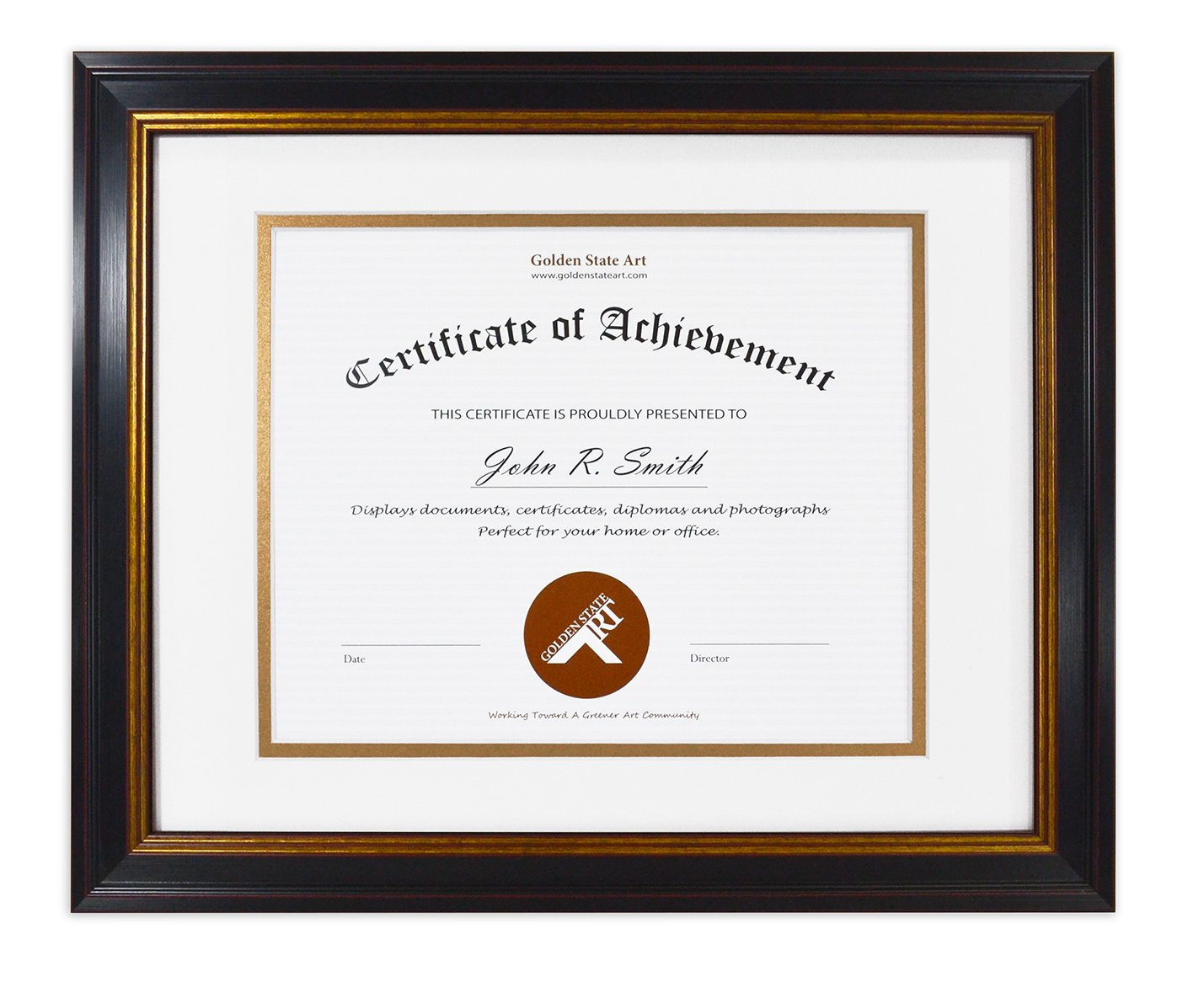 Golden State Art 11x14 Frame for 8x10 Diploma/Certificate, Black Gold & Burgundy color. Includes White Over Gold Double Mat and Real Glass