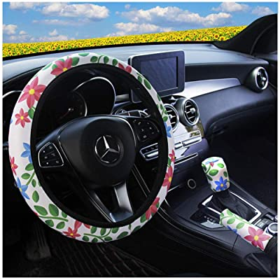 Ranxizy Neoprene Cloth Washable Sunflower Steering Wheel Cover Handbreak Cover Gear Shift Cover for Universal Car 1 Set 3 Pcs: Automotive