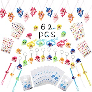 62 Pcs Shark Party Favors Birthday Set- Shark Bracelets Keychains Necklaces Rings Stickers Gift Bags Shark Party Supplies Under the Sea Goodies Bag Fillers Prizes Box Toy for Boys Girls