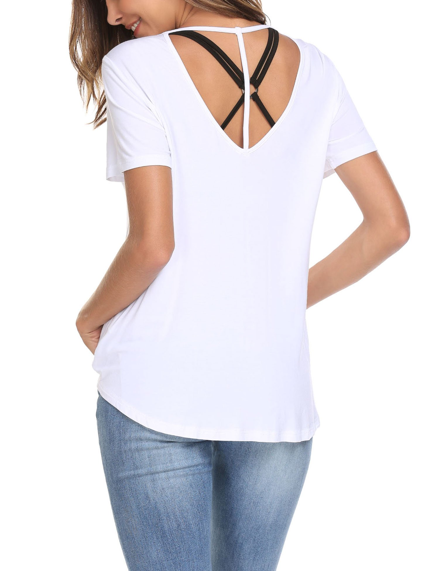 ELESOL Women Slim Fit Summer Tops Lightweight Basic High Low Hem T-Shirts White XXL by ELESOL (Image #2)
