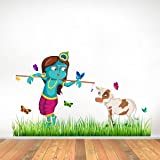 Rawpockets 'Lord Krishna Cow Grass Butterfly Story' Wall Sticker (PVC Vinyl, 1 cm x 60 cm x 100 cm)