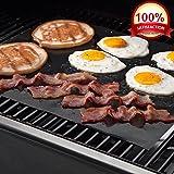 """KOLLPCTT Premium Quality No-Stick Baking Mat & Cookie Sheet - Teflon BBQ Grill Sheet/Mat, Black(15.7"""" x 13"""")"""