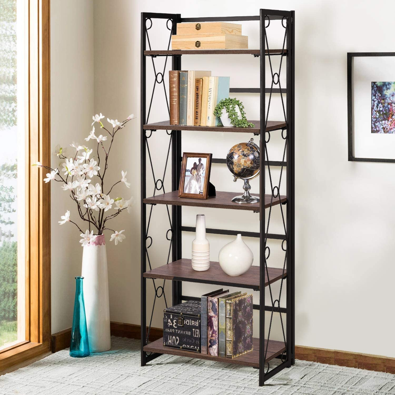 VECELO 5 Tier Bookshelf, Industrial Tall Bookcase with Metal Frames,Modern Standing Storage Rack Shelf Organizer for Home and Office,Dark Brown