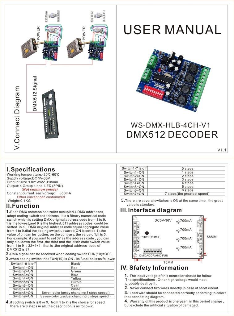 Constant Current 350mA High Power Controller DMX 512 RGBW 4 Channel Decoder DC5V-36V