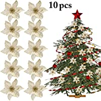Outgeek 10PCS Christmas Flower Decorative Glitter Artificial Flower Xmas Tree Ornament