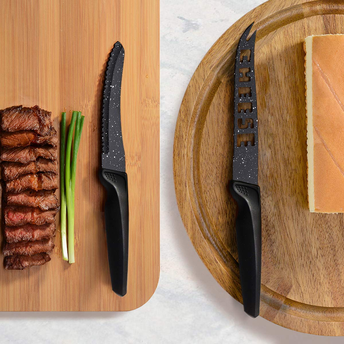 HOBO 17-Piece Knife Set, Stainless Steel Chef Knife Set with Acrylic Block Professional Non-Slip Handle, Kitchen Scissors, Cooking, Black Knife Sets by HOBO (Image #6)