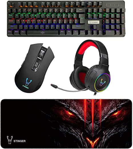 Woxter Stinger Elite Kit - Kit Gaming para Profesionales, Teclado Mecánico, Ratón Óptico, Pad de Microfibra 75 x 28, Auriculares con Micrófono, ...