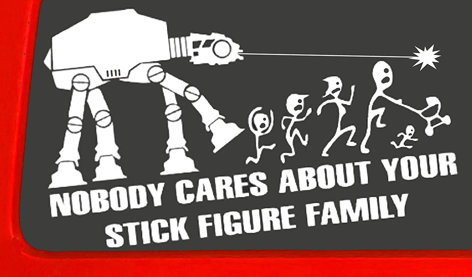 Amazoncom NOBODY CARES ABOUT YOUR STICK FIGURE FAMILY Your Stick - Vinyl decals for your caramazoncom your stick family was delicious trex vinyl decal