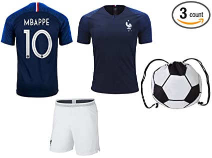 ce3216a84ad Mbappe France  10 Youth Soccer Jersey Home Short Sleeve Kit Shorts Kids  Gift Set (