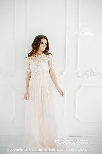 Amazon.com: Biscuit Blush Albertine Dress, Lace Tulle Dress ...