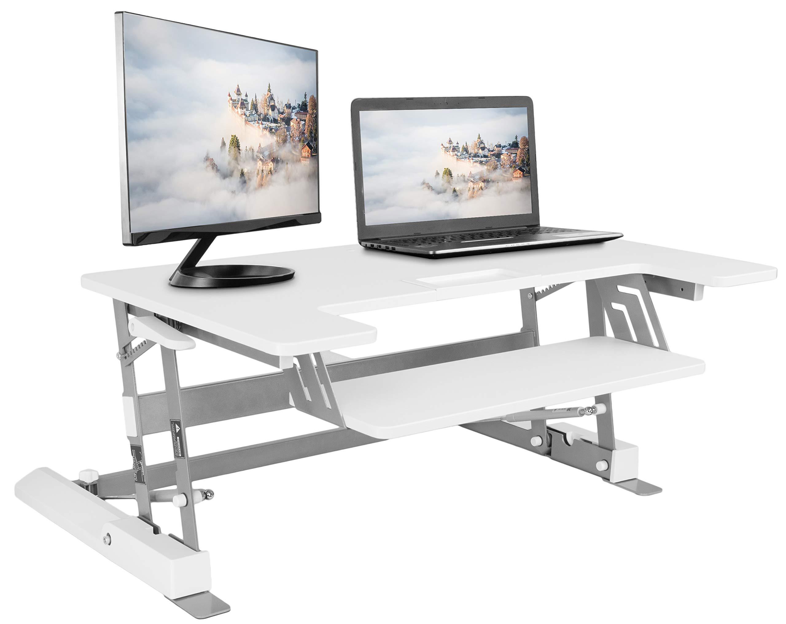 VIVO Height Adjustable Standing Desk Monitor Riser Gas Spring   36'' White Tabletop Sit to Stand Workstation Converter (DESK-V000W)