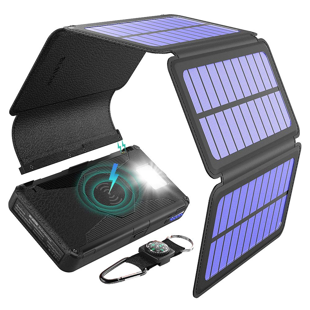 BLAVOR Solar Charger Five Panels Detachable, Qi Wireless Charger 20000mAh Portable Power Bank with Dual Output Type C Input Flashlight and Compass Kit (Black, 20000mah) by BLAVOR