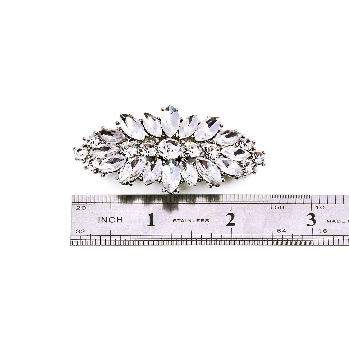 ElegantPark AW Women's Leaf Design Rhinestones Crystal Clutch Dress Hat Shoe Clips Silver 2 Pcs by ElegantPark (Image #8)