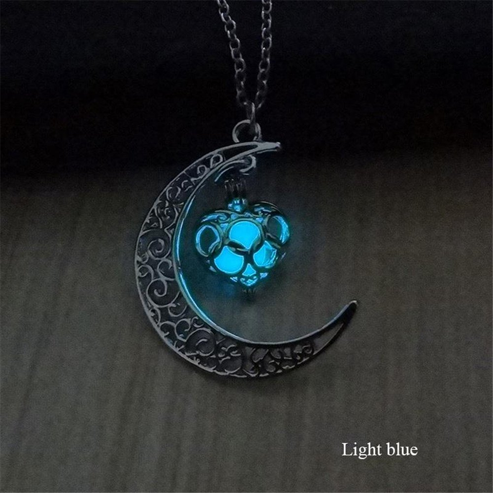 CHRWANG Popular Moon Heart Glow in the Dark Blink Necklace Elegant Jewelry Luminous Chain Light blue