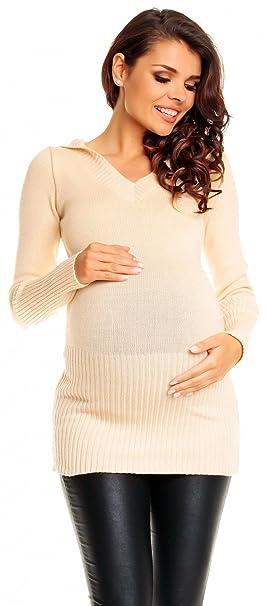 Zeta Ville De Las Mujeres Maternidad Caliente Knit Pullover Jersey Túnica Capucha Cuello de Pico –