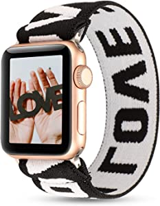 PENKEY Women Elastic Watch Band Compatible for Apple Watch 38mm 40mm 42mm 44mm,Stretchy Wristbands Replacement for IWatch Series 1 2 3 4 5 (Blac White Love, 38/40mm)