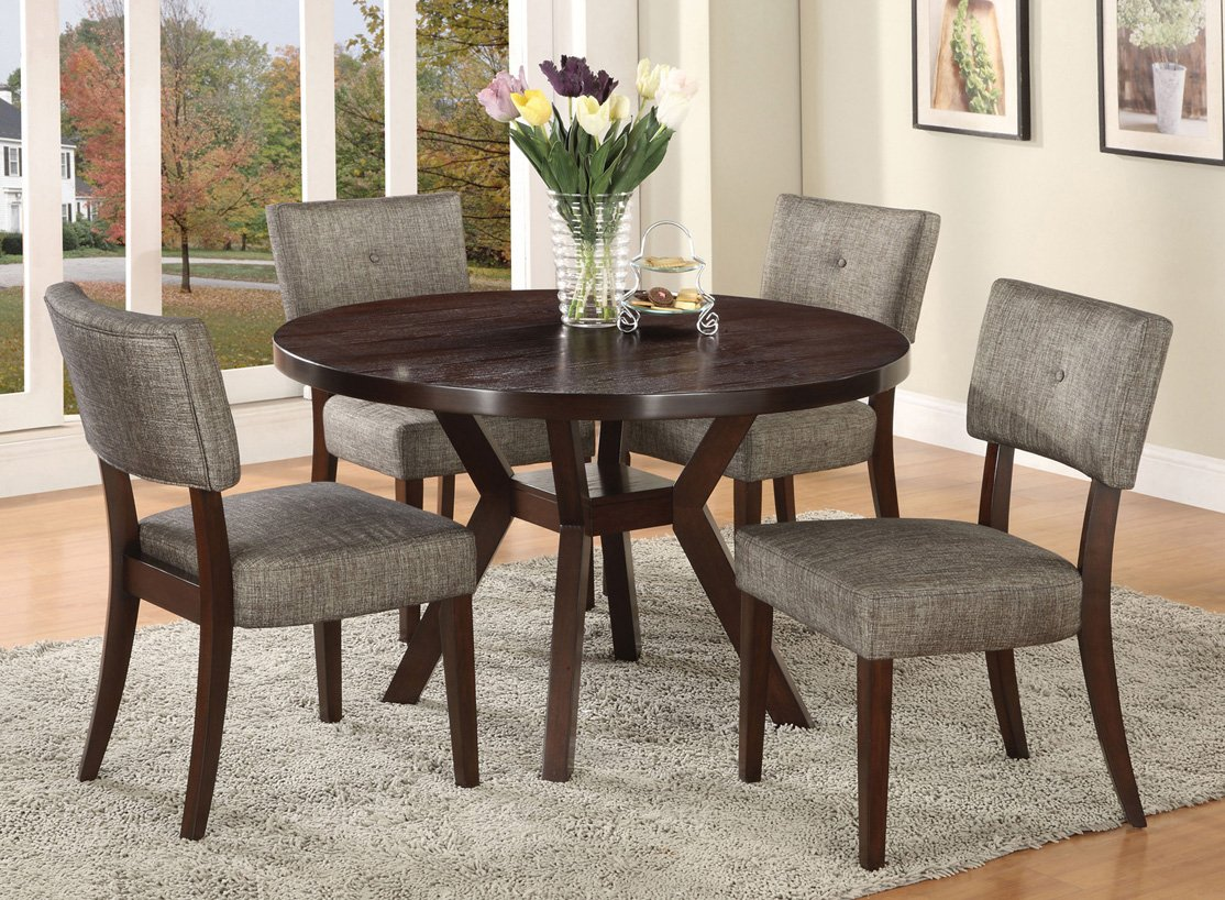 Amazoncom Acme Furniture Top Dining Table Set Espresso Finish - Contemporary round kitchen table and chairs