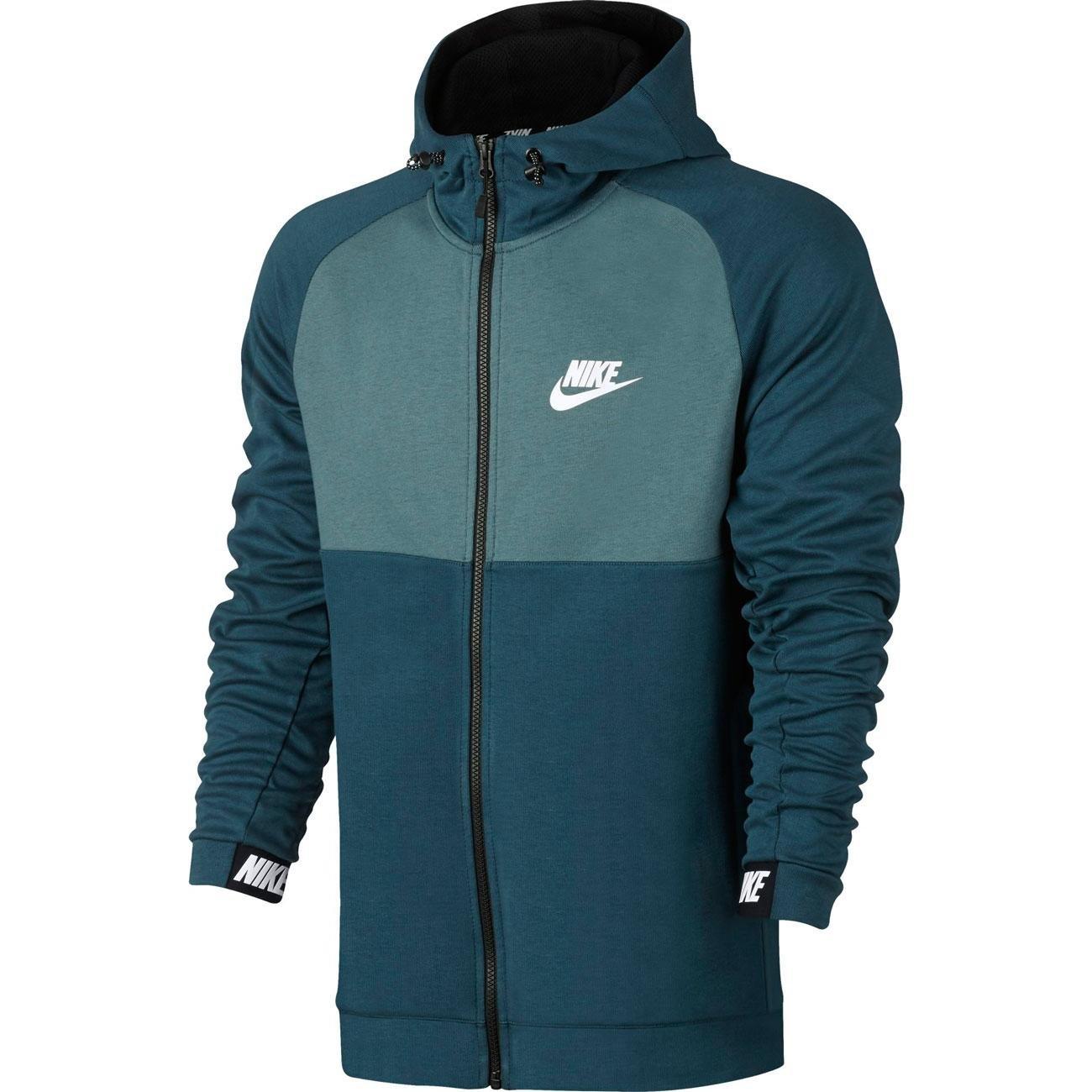 Nike NIKE NIKE NIKE M NSW AV15 HOODIE FZ FLC schwarz-grünblau-grau 190415
