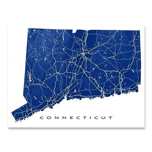 Amazon.com: Connecticut Map Print, CT State Art, USA: Handmade