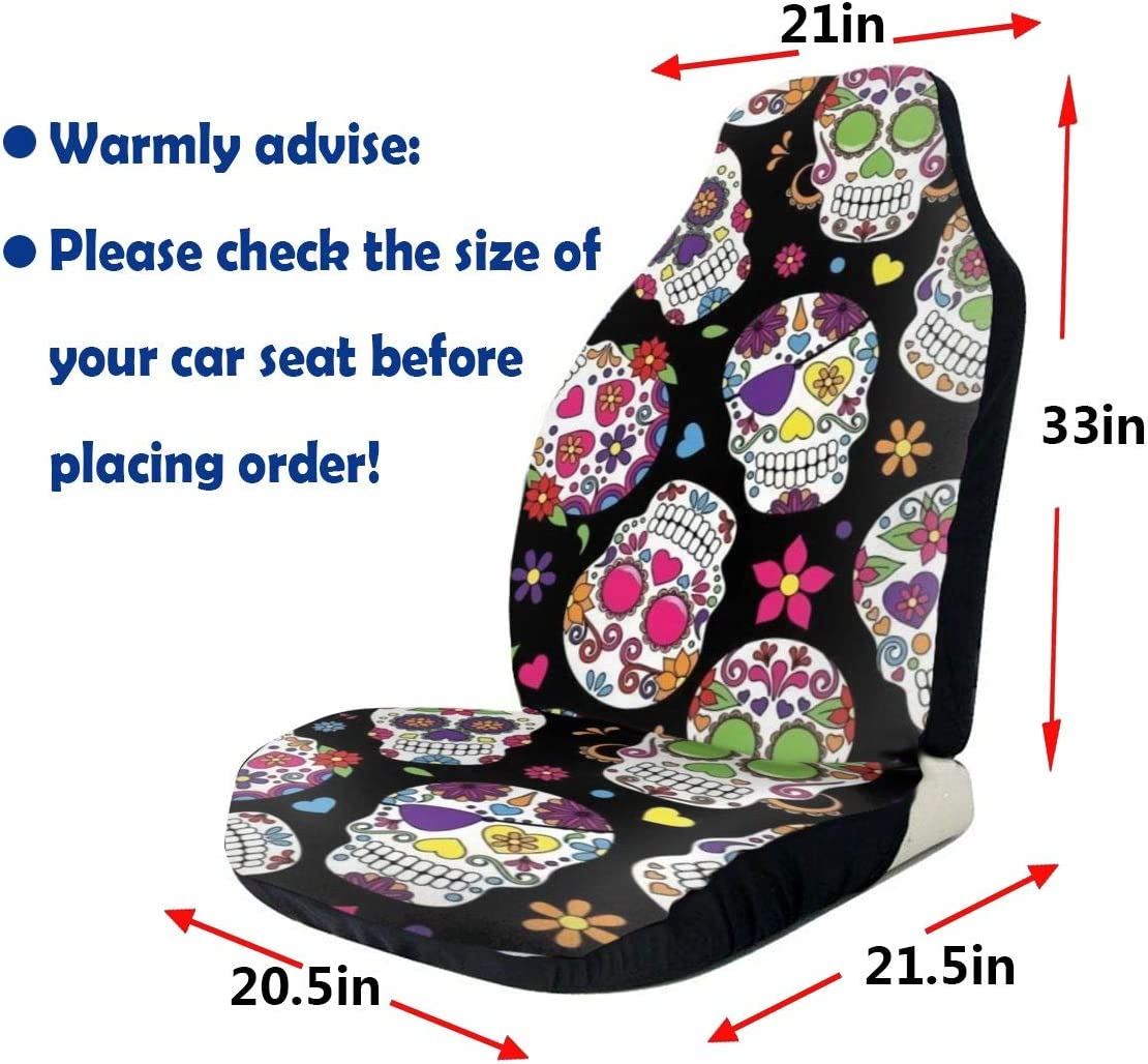 MRSP Car Seat Covers Universal Bucket Seat Cover Fit for Baja,Sedans,Trucks,SUVs and Vans,Soft /& Flexible Polyester Front Seat Protector Saddle Blanket Machine Washable 2 pcs Sugar Skull
