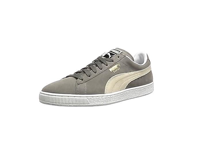 Puma Suede Schuhe Erwachsene Damen Herren grau (Steeple gray) m weißem Streifen