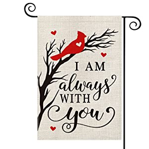 AVOIN colorlife Cardinalis Love Heart Garden Flag Vertical Double Sided I Am Always With You, Northern Cardinal Holiday Regular Daily Life Cardinals Yard Outdoor Decoration 12.5 x 18 Inch