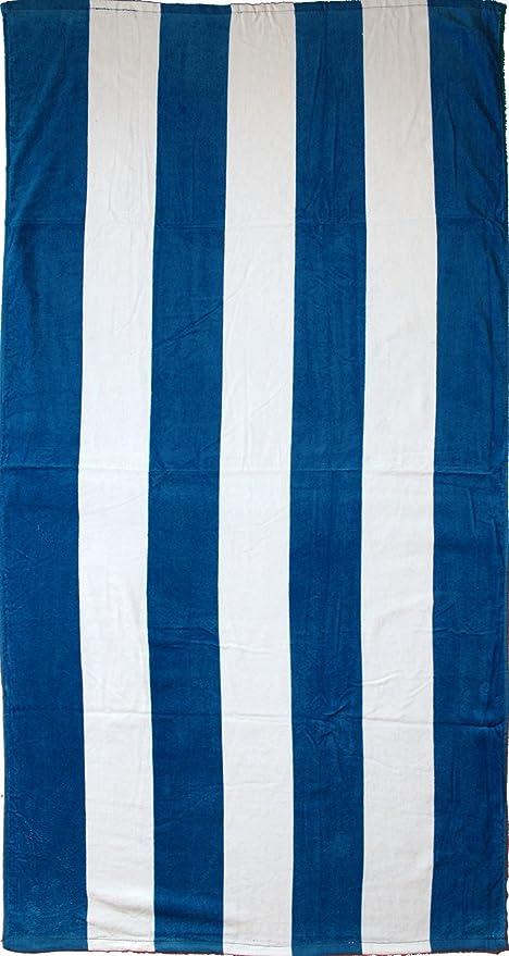 strandlaken, toalla de playa (150 x 75 cm, azul, blanco rayas,