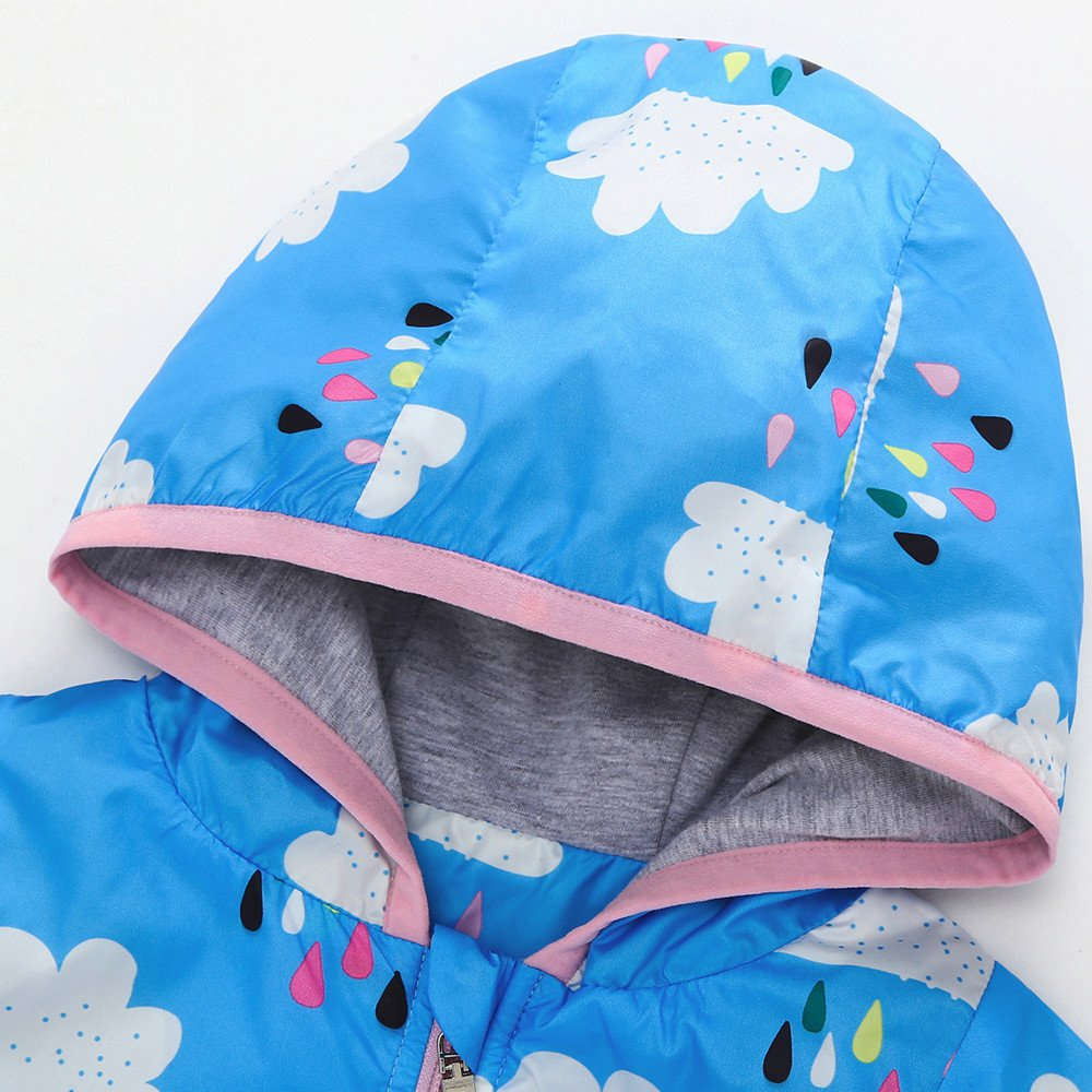 Lifestyler Fashion Cute Girls Clothes Coat Sunscreen Hooded Printing Coat Clothes Zip Pocket Outwear