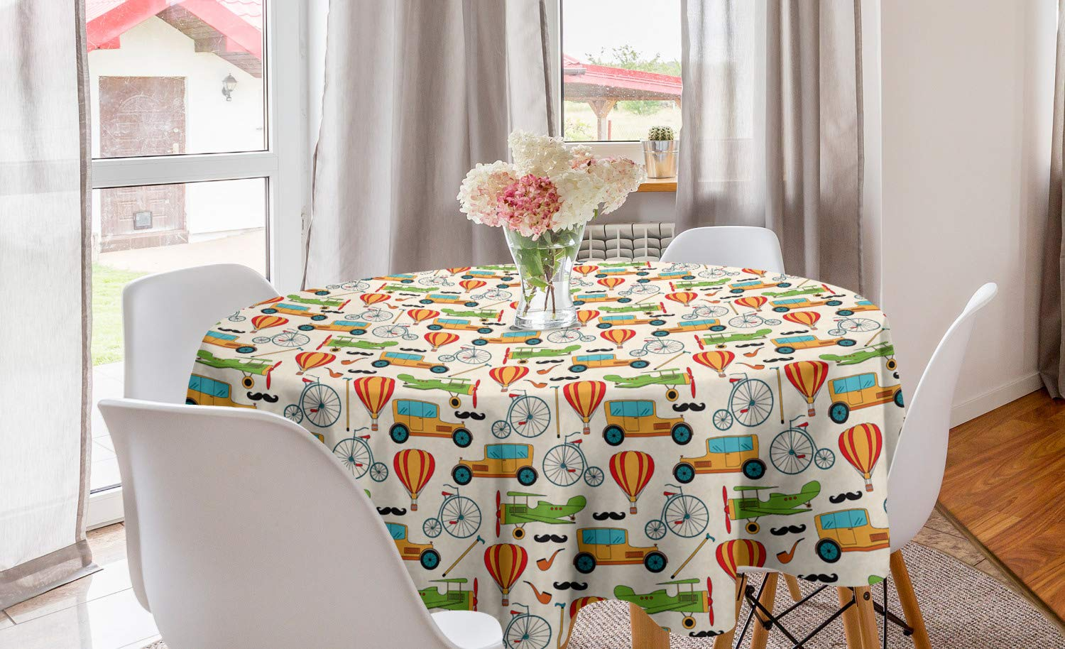"""Lunarable Vintage Airplane Round Tablecloth, Penny-Farthing Bicycle Old School Car Hot Air Balloon and Cane Retro Image, Circle Table Cloth Cover for Dining Room Kitchen Decoration, 60"""", Multicolor"""