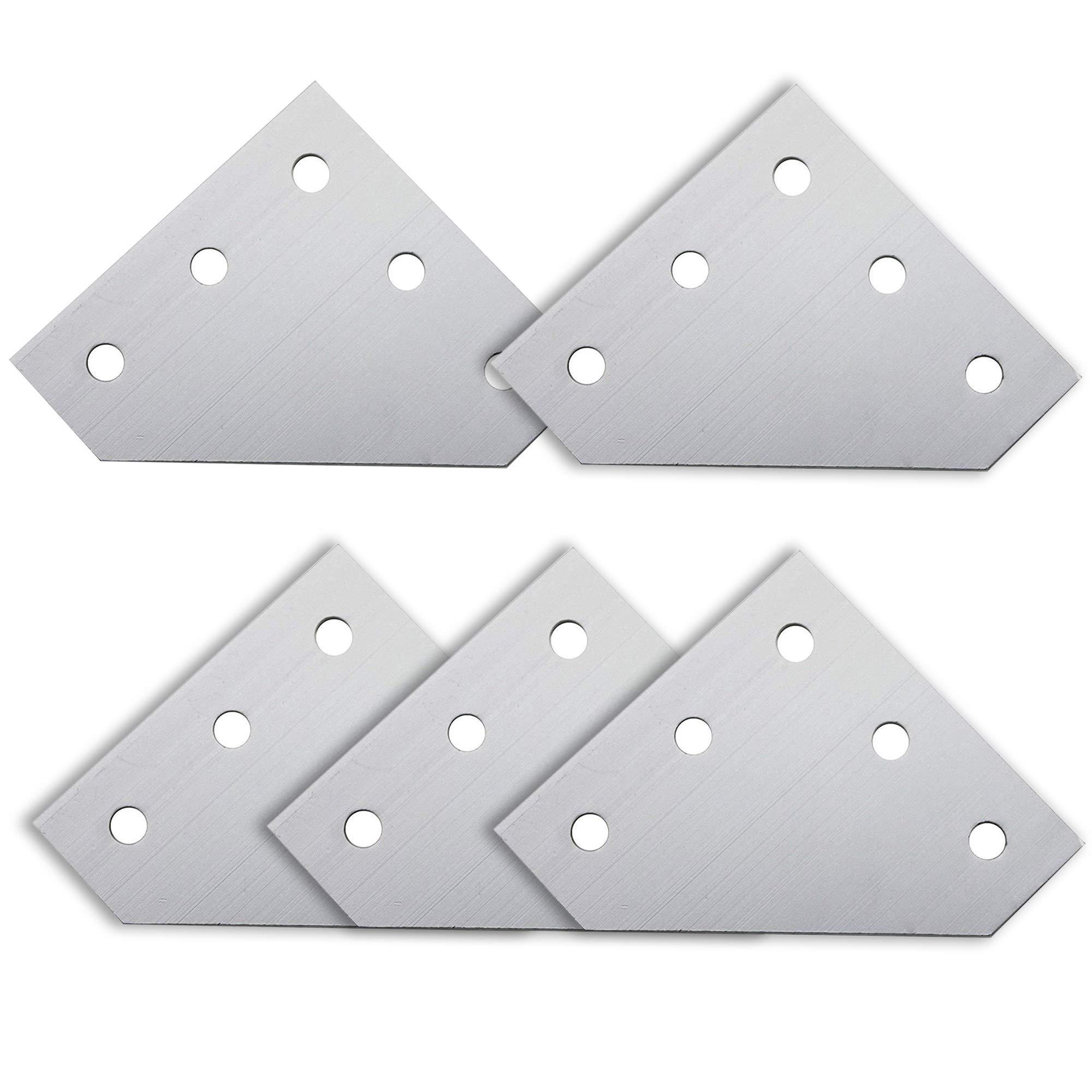 Iztoss 5-Hole 90 Degree L Shape Outside Joining Plate for 2020 Series Aluminum Profile, Joint Bracket Plate (5pcs/Pack)