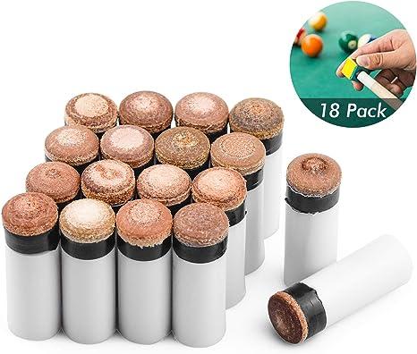 HENTEK 18 Juegos Puntas rígidas de Taco de Billar de 12 mm Puntas ...